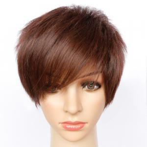 Short Fluffy Side Bang Straight Synthetic Wig -