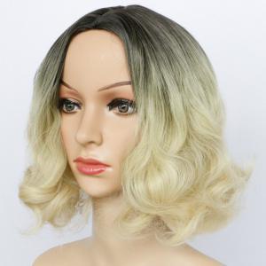Double Color Short Fluffy Centre Parting Wavy Synthetic Capless Wig -
