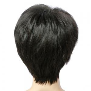 Spiffy Short Pixie Cut Synthetic Straight Side Bang Capless Wig - BLACK