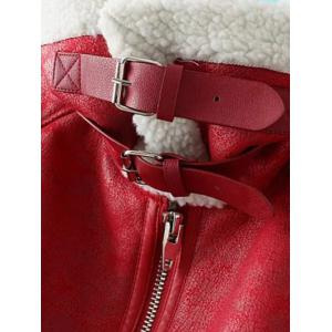 PU Leather Faux Shearling Coat -