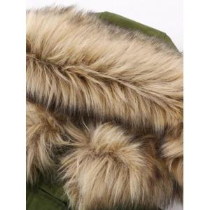 Fur Hooded Pockets Cargo Coat -