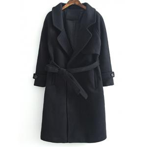 Lapel Collar Woolen Belted Long Wrap Coat - Black - S