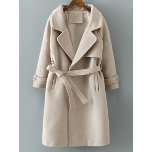 Lapel Collar Woolen Belted Long Wrap Coat