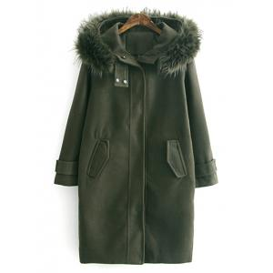 Woolen Blend Fur Hooded Coat - Army Green - L