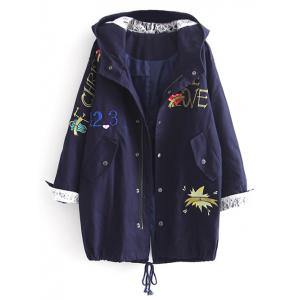 Hooded Letter Embroidered Sequins Coat