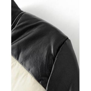 PU Leather Panel Color Block Padded Coat -