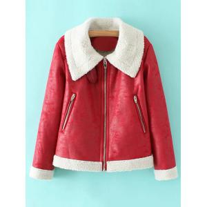 PU Leather Faux Shearling Coat - Red - S