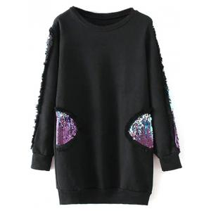 Crew Neck Sequins Long Sweatshirt