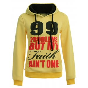 Casual Letters Number Print Hoodie - YELLOW S