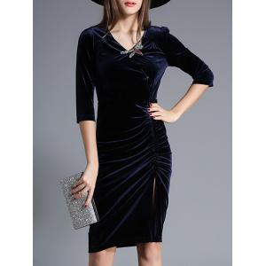 Velvet Ruched Rhinestone Dress - Cadetblue - M
