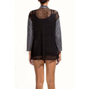 Lace Panel Open Front Shawl Collar Jacket -