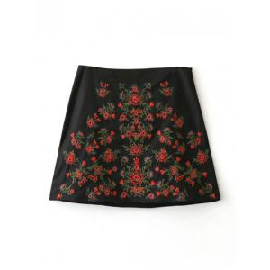 A-Line Floral Embroidered Skirt - BLACK L