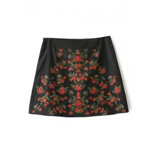 A-Line Floral Embroidered Skirt
