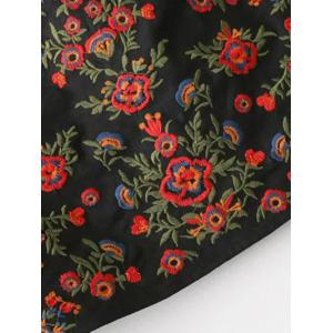 A-Line Floral Embroidered Skirt - BLACK S