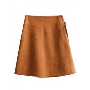 Faux Suede Lace-Up A-Line Skirt - Brown - M