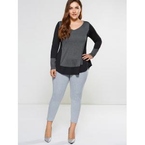 Plus Size Curved Hem Tee - BLACK AND GREY 5XL