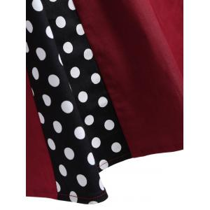 Vintage Polka Dot Sleeveless Knee Length Swing Dress - BURGUNDY M