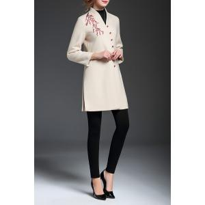 Embroidered V Neck A Line Coat - OFF-WHITE XL
