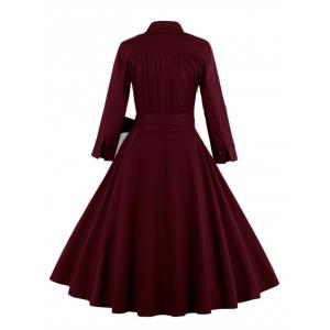 Vintage Wrapped Formal Evening Midi Skater Dress -