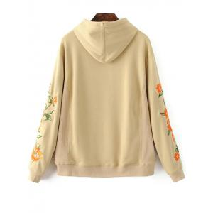 Big Pocket Floral Embroidered Hoodie -