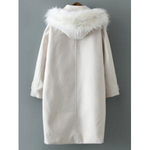 Woolen Blend Fur Hooded Coat -