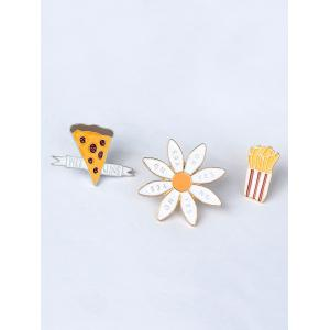 Letter Floral Cheese Cactus Brooch Set - GOLDEN