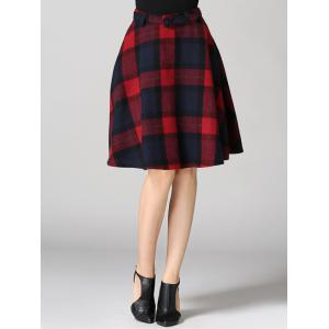 High Waisted Scottish A Line Skirt - RED M