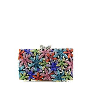 Diamante Flowers Evening Bag - Black - 8