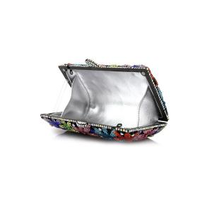 Diamante Flowers Evening Bag - BLACK