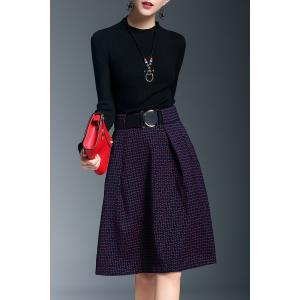 Mock Neck Jacquard A Line Knitted Dress