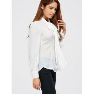 Pussy Bow Tie Neck Blouse - WHITE XL