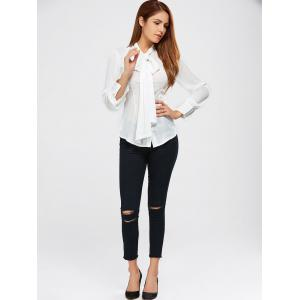 Pussy Bow Tie Neck Blouse -