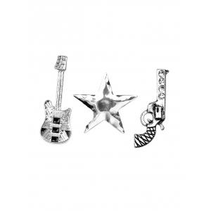 Guitar Gun Rhinestone Star Brooch Set - SILVER