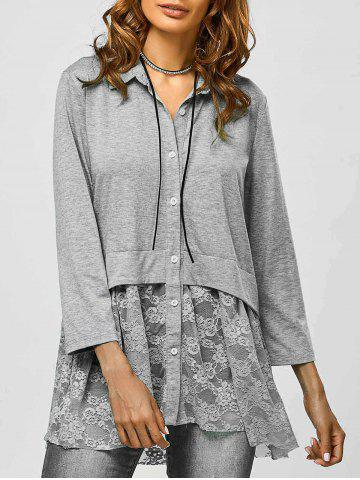 Outfit Lace Trim Smock Blouse