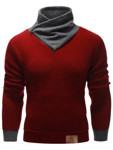 Shop Zip Up High Neck Ribbed Pullover Sweater BURGUNDY 2XL