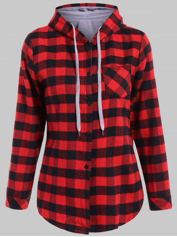 Plaid Pocket Design Buttoned Black Red Hoodie - Red With Black - 4xl