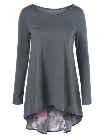 Fashion Floral Patchwork High Low T-Shirt BLACK AND GREY M