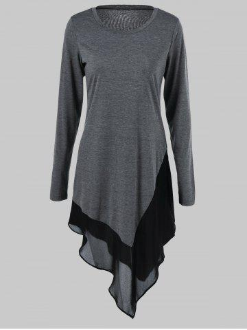 Online Plus Size Chiffon Trim Asymmetrical Long Sleeve Dress - 4XL GRAY Mobile