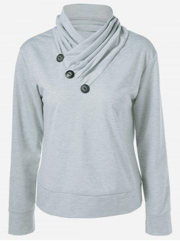 Chic Inclined Button Sweatshirt LIGHT GRAY XL