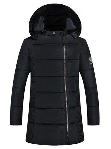 Black M Side Zip Up 79 Patch Quilted Hooded Coat | RoseGal.com : quilted hooded coat - Adamdwight.com