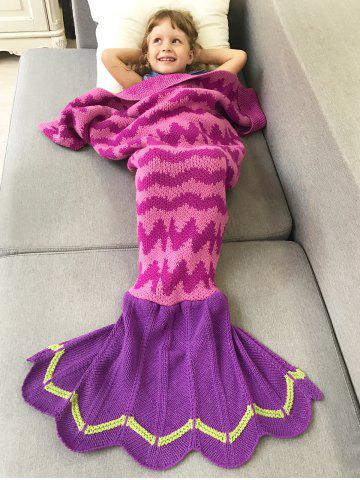 Affordable Soft and Comfortable Wavy Design Knitted Fish Tail Blanket ROSE RED