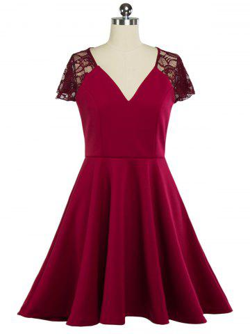 Outfits Plunging Neck Lace Panel Swing Skater Dress WINE RED 2XL