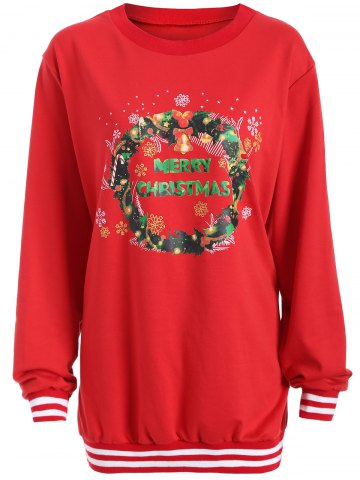 Outfits Christmas Graphic Varsity Striped Sweatshirt RED 3XL