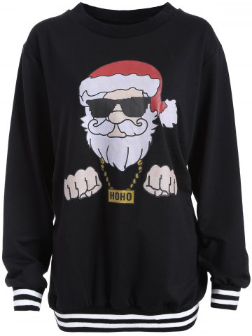 Unique Christmas Santa Print Varsity Striped Sweatshirt BLACK 3XL