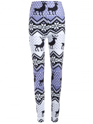 Chic Plus Size Ornate Elk Printed Christmas Leggings