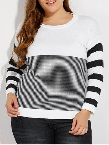 Outfit Plus Size Drop Shoulder Striped Sweater WHITE 5XL