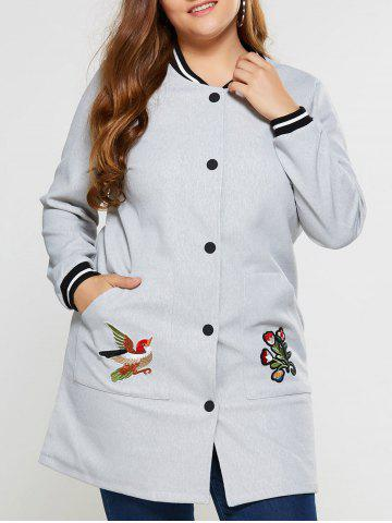 Fashion Plus Size Appliques Button Up Coat