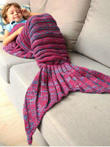 Cheap Thicken Soft Knitted Sleeping Bag Kids Wrap Mermaid Blanket - M BLUE AND RED Mobile