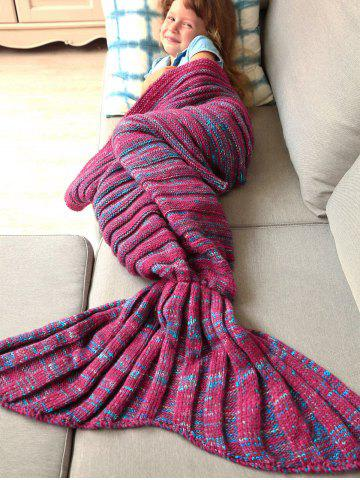 Unique Thicken Soft Knitted Sleeping Bag Kids Wrap Mermaid Blanket - M BLUE AND RED Mobile