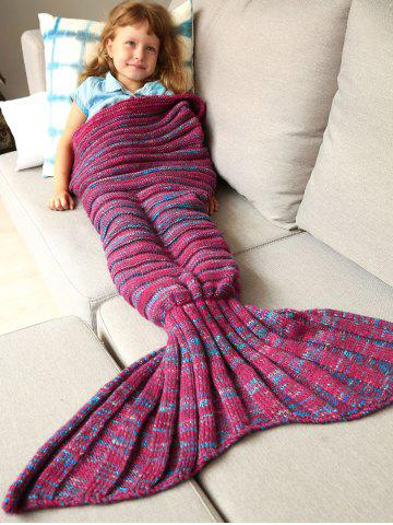 Shop Thicken Soft Knitted Sleeping Bag Kids Wrap Mermaid Blanket - M BLUE AND RED Mobile